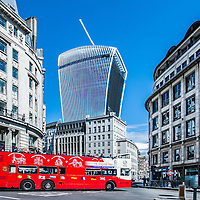 London, UK - AUG 11: a London sightseeing double-decker bus  on King William St in the City of London on August 11, 2014
