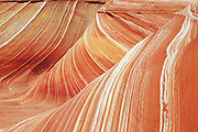 """Detail of sandstone formation known as """"The Wave"""" in the Coyote Buttes area, Paria Canyon-Vermilion Cliffs Wilderness, Arizona./Utah"""