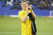 Goalscorer Ryan Peake claps the Chichester City fans after the The FA Cup match between Tranmere Rovers and Chichester City at Prenton Park, Birkenhead, England on 1 December 2019.
