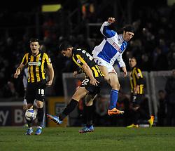 Bristol Rovers' John-Joe OToole challenges Southend United's John Egan - Photo mandatory by-line: Dougie Allward/JMP - Mobile: 07966 386802 21/03/2014 - SPORT - FOOTBALL - Bristol - Memorial Stadium - Bristol Rovers v Southend United - Sky Bet League Two