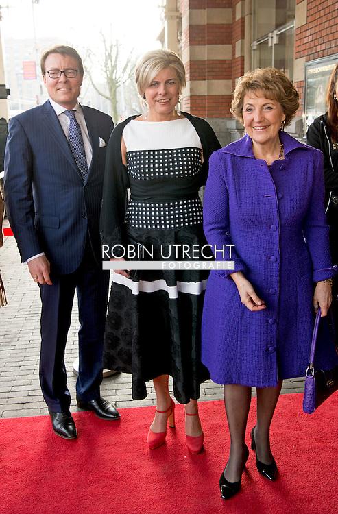 15-3-2016 AMSTERDAM - Princess Margriet, Prince Constantijn and Princess Laurentien of the Netherlands are Tuesday March 15, 2016 at the presentation of the ECF Princess Margriet Award for Culture at the City Theatre in Amsterdam. COPYRIGHT ROBIN UTRECHT<br /> 15-3-2016 AMSTERDAM - Prinses Margriet, Prins Constantijn en Prinses Laurentien der Nederlanden zijn dinsdagmiddag 15 maart 2016 aanwezig bij de uitreiking van de ECF Princess Margriet Award for Culture in de Stadsschouwburg in Amsterdam. COPYRIGHT ROBIN UTRECHT
