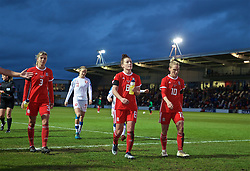 NEWPORT, WALES - Thursday, April 4, 2019: Wales' Gemma Evans, Angharad James and Jessica Fishlock walk back to the dressing room at half-time during an International Friendly match between Wales and Czech Republic at Rodney Parade. (Pic by David Rawcliffe/Propaganda)