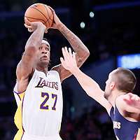 07 December 2014: Los Angeles Lakers center Jordan Hill (27) takes a jump shot  during the New Orleans Pelicans 104-87 victory over the Los Angeles Lakers, at the Staples Center, Los Angeles, California, USA.