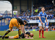 Portsmouth striker Conor Chaplin sees a chance go begging during the Sky Bet League 2 match between Portsmouth and Cambridge United at Fratton Park, Portsmouth, England on 27 February 2016. Photo by Adam Rivers.