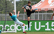 Portugal goalkeeper Andre Gomes (1) makes a save on a corner kick while Slovenia midfielder Enej Marsetic (9) looks to knock the ball away during a CONCACAF boys under-15 championship soccer game, Sunday, August 11, 2019, in Bradenton, Fla. Portugal defeated Slovenia in the final in 2-0. (Kim Hukari/Image of Sport)