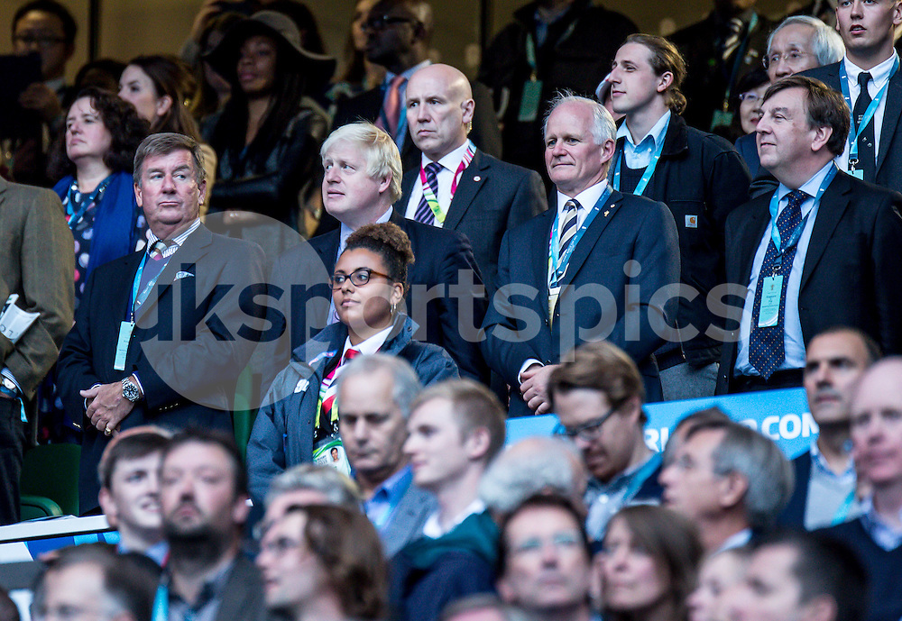 London Mayor Boris Johnson at the opening ceremony during the Rugby World Cup 2015 Pool A match between England and Fiji played at Twickenham Stadium, London on 18 September 2015. Photo by Liam McAvoy.