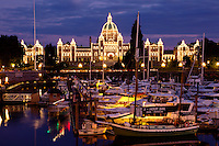 Parliament Building and Inner Harbour at Night, Victoria, British Columbia