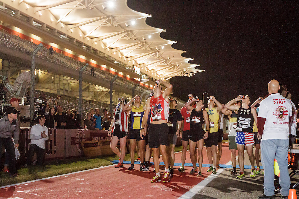 Beer Mile World Championships, Inaugural, sub-elite runners chug