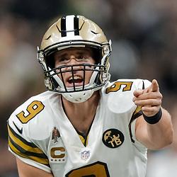 Nov 18, 2018; New Orleans, LA, USA; New Orleans Saints quarterback Drew Brees (9) against the Philadelphia Eagles during the second quarter at the Mercedes-Benz Superdome. Mandatory Credit: Derick E. Hingle-USA TODAY Sports