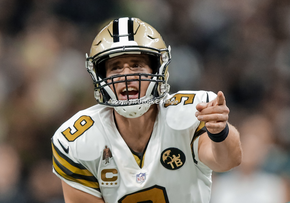 Nov 18, 2018; New Orleans, LA, USA; New Orleans Saints quarterback Drew Brees (9) against the Philadelphia Eagles during the second quarter at the Mercedes-Benz Superdome. Mandatory Credit: Derick E. Hingle-USA TODAY Sports