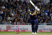 Yorkshires Liam Plunkett bowled during the Vitality T20 Blast North Group match between Lancashire County Cricket Club and Yorkshire County Cricket Club at the Emirates, Old Trafford, Manchester, United Kingdom on 20 July 2018. Picture by George Franks.