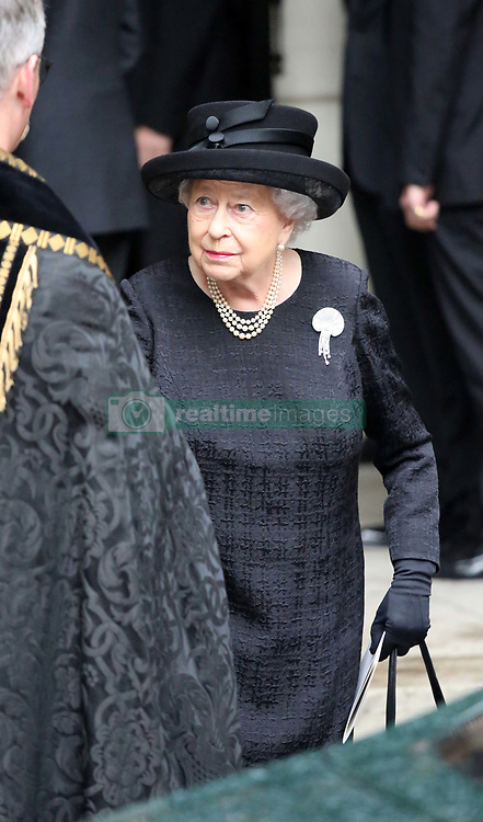 Queen Elizabeth II leaves the funeral of Countess Mountbatten of Burma at St Paul's Church, Knightsbridge, London.