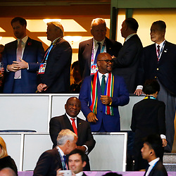 Sir Nathi Mthethwa Minister of Sport, Arts and Culture of South Africa with Cyril Ramaphosa President of the African National Congress. President of the Republic of South Africa during the Rugby World Cup Final match between South Africa Springboks and England Rugby World Cup Final at the International Stadium Yokohama  Japan.Saturday 02 November 2019. (Mandatory Byline -Steve Haag Sports Hollywoodbets)