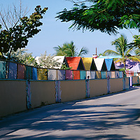Colorful resort houses on Bay Street around New Providence Island, Nassau Bahamas.