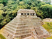 Pyramids and Temple-of-the-Inscriptions, Palenque, Mexico. Classical Mayan architecture