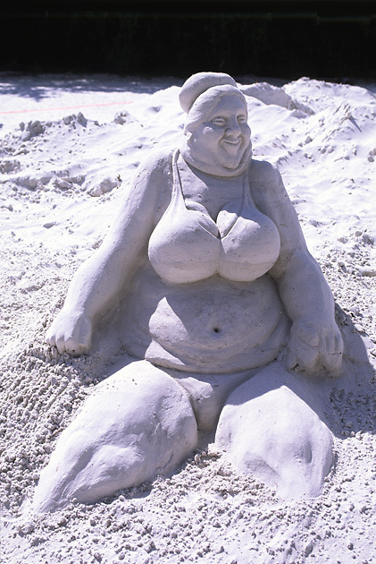 large sand castle sculpture; fat woman in bikini; contest; creative; art; Ft. Myers Beach; FL; Florida