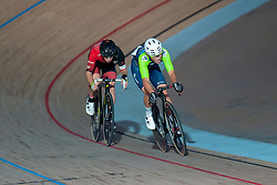 February 8, 2019 - Melbourne, VIC, U.S. - MELBOURNE, VIC - FEBRUARY 08: Blake Agnoletto competes for position during The Madison 40km Talent Cup Race at The Six Day Cycling Series on February 08, 2019 at Melbourne Arena, VIC. (Photo by Speed Media/Icon Sportswire) (Credit Image: © Speed Media/Icon SMI via ZUMA Press)
