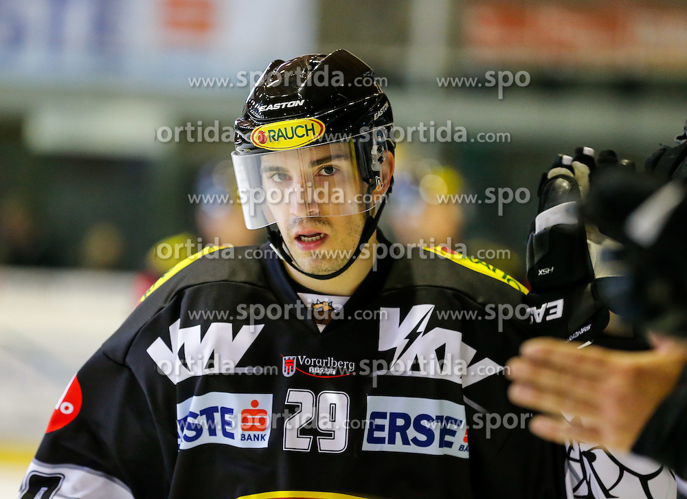 06.01.2015, Messestadion, Dornbirn, AUT, EBEL, Dornbirner EC vs HC Orli Znojmo, 36. Runde, im Bild Luciano Aquino, (Dornbirner EC, #29) freut sich ueber sein Tor // during the Erste Bank Icehockey League 36th round match between Dornbirner EC and HC Orli Znojmo at the Messestadion in Dornbirn, Austria on 2015/01/06, EXPA Pictures © 2015, PhotoCredit: EXPA/ Peter Rinderer