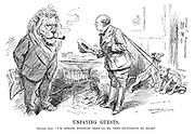 "Unpaying Guests. British Lion. ""I'm afraid, Winston, they'll be very expensive to rear."" (Churchill comes in to the British Lion's office with Palestine and Iraq as lion cubs in the InterWar era)"