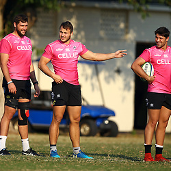 Ruan Botha of the Cell C Sharks with Andre Esterhuizen of the Cell C Sharks and Kobus van Wyk of the Cell C Sharks during the Cell C Sharks training, Jonsson Kings Park Stadium,Durban South Africa.27,06,2018 Photo by (Steve Haag REX Shutterstock )