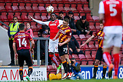 Fleetwood Town Forward Devante Cole (44) challenges Bradford City defender Anthony McMahon (29)  during the EFL Sky Bet League 1 play off first leg match between Bradford City and Fleetwood Town at the Coral Windows Stadium, Bradford, England on 4 May 2017. Photo by Simon Davies.