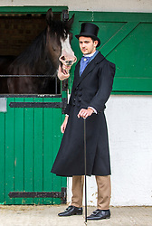 © Licensed to London News Pictures. 09/07/2018. Harrogate UK. Ronan Carter models an outfit from 1838 created to by Harrogate college student Joanna Rishworth to celebrate the 160th Great Yorkshire Show which starts tomorrow in Harrogate.  Photo credit: Andrew McCaren/LNP