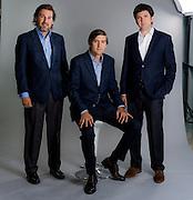 Cristobal Prado, Juan Luis Moreno y Sebastian Reyes, Gerentes de la Asociación Chilena de Seguridad ACHS. Santiago de Chile, 24-04-2015. (©Alvaro de la Fuente/Triple.cl)