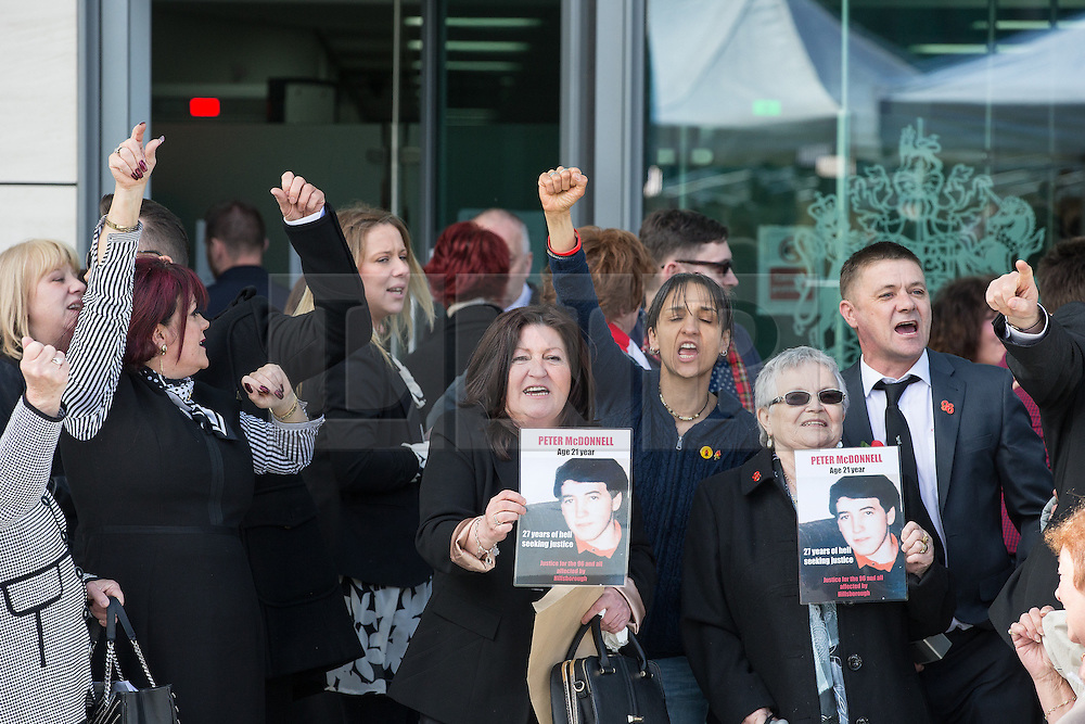 © Licensed to London News Pictures. 26/04/2016. Warrington, UK. Outside the court after the jury delivers their verdicts at the Hillsborough Inquest, at the coroner's court at Birchwood Park.  Photo credit: Joel Goodman/LNP