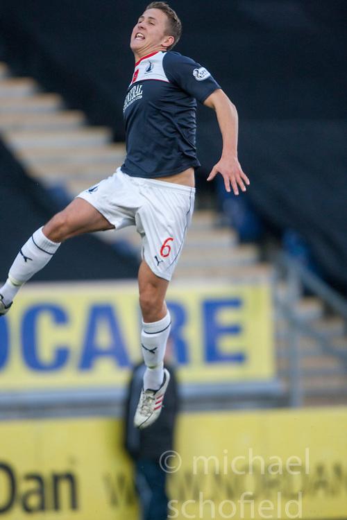 Falkirk's Will Vaulks cele scoring their goal.<br /> Falkirk 4 v 1 Livingston, Scottish Championship game played today at the Falkirk Stadium.