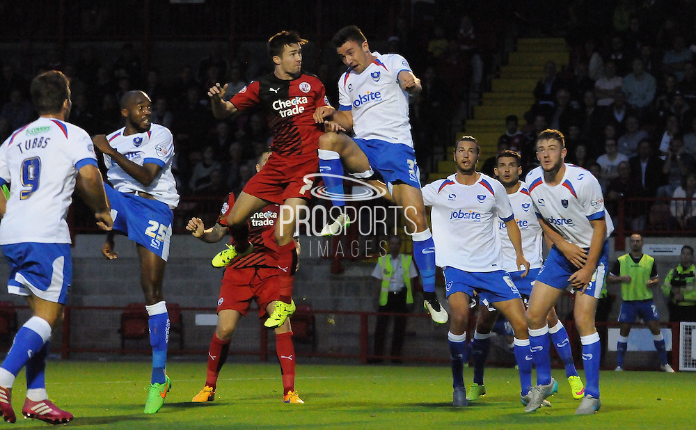 Gwion Edwards with the header for Crawley during the Sky Bet League 2 match between Crawley Town and Portsmouth at the Checkatrade.com Stadium, Crawley, England on 18 August 2015. Photo by Michael Hulf.