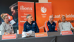 28-12-2019 NED: Pressmoment Volleyball, Arnhem<br /> Volleyball women & men have a final training and press conference before they leave for Olympic Qualification Tournament / Maret Balkestein-Grothues, Giovanni Caprara, Coach Roberto Piazza and Nimir Abdelaziz