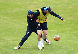 England's Alastair Cook (left) and Ben Stokes during a nets session at Headingley, Leeds. PRESS ASSOCIATION Photo. Picture date: Wednesday May 30, 2018. See PA story CRICKET England. Photo credit should read: Tim Goode/PA Wire. RESTRICTIONS: Editorial use only. No commercial use without prior written consent of the ECB. Still image use only. No moving images to emulate broadcast. No removing or obscuring of sponsor logos.
