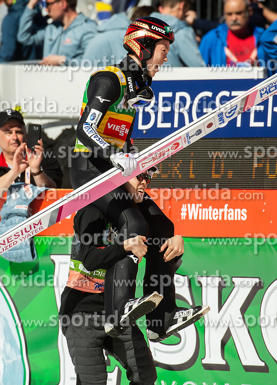 Winner Ryoyu Kobayashi (JPN) celebrates with his brother Junshiro Kobayashi (JPN) after the Ski Flying Hill Individual Competition at Day 4 of FIS Ski Jumping World Cup Final 2019, on March 24, 2019 in Planica, Slovenia. Photo by Vid Ponikvar / Sportida
