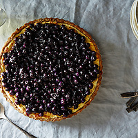 Ricotta Custard Blueberry Tart with Nut Crescent Crust