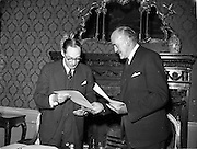 27/05/1959<br /> 05/27/1959<br /> 27 May 1959<br /> Ratification of Irish-Belgian Air Agreement at Iveagh House, Dublin. An Air Transport Agreement between Ireland and Belgium which was signed in 1955 was formally signed and exchanged by Mr Frank Aiken, Minister for External Affairs and the Belgian Ambassador, His Excellency Count Antoine de Laubespin (left).