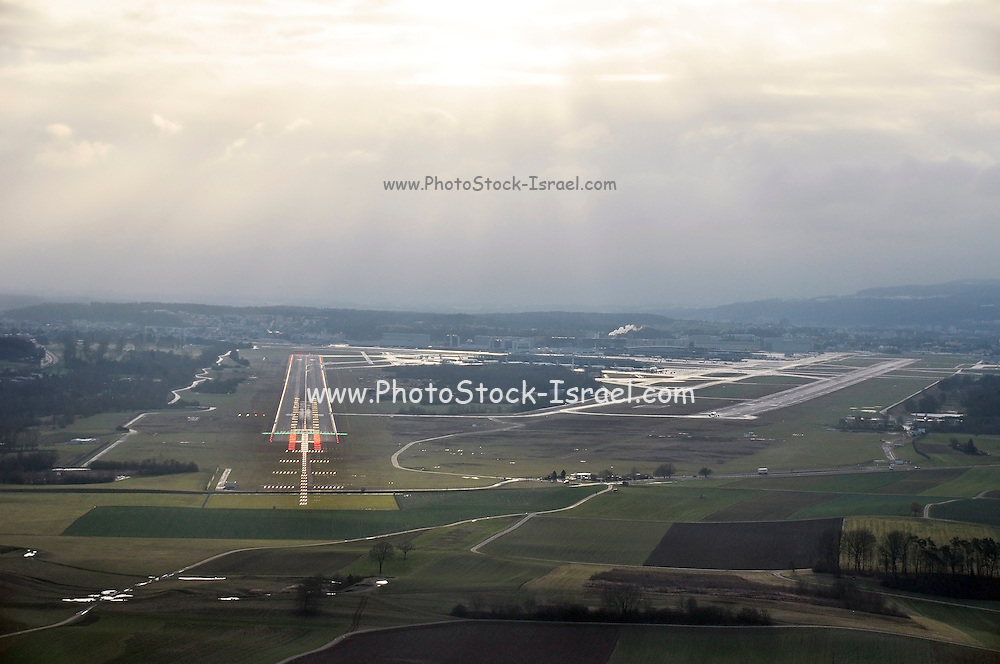 runway approach shot Zurich Airport (IATA: ZRH, ICAO: LSZH) also called Kloten Airport