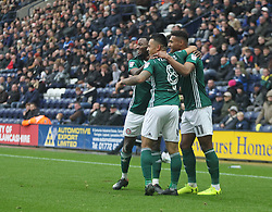 Nico Yennaris of Brentford (C) celebrates after scoring his sides first goal - Mandatory by-line: Jack Phillips/JMP - 28/10/2017 - FOOTBALL - Deepdale - Preston, England - Preston North End v Brentford - Football League Championship