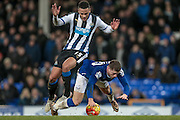 Jamaal Lascelles (Newcastle United) brings Ross Barkley (Everton) for a penalty during the Barclays Premier League match between Everton and Newcastle United at Goodison Park, Liverpool, England on 3 February 2016. Photo by Mark P Doherty.