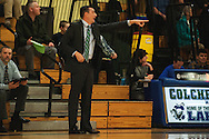 Colchester head coach Joe Maheux talks to his team during the boys basketball game between the Essex Hornets and the Colchester Lakers at Colchester High School on Tuesday night December 15, 2015 in Colchester. (BRIAN JENKINS/for the FREE PRESS)