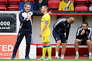 AFC Wimbledon manager Neal Ardley talking to AFC Wimbledon defender Barry Fuller (2) during the Pre-Season Friendly match between Ebbsfleet and AFC Wimbledon at Stonebridge Road, Ebsfleet, United Kingdom on 29 July 2017. Photo by Matthew Redman.