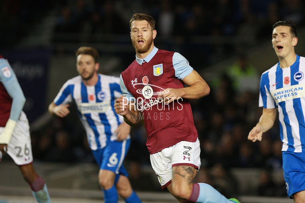 Aston Villa defender Nathan Baker (2) during the EFL Sky Bet Championship match between Brighton and Hove Albion and Aston Villa at the American Express Community Stadium, Brighton and Hove, England on 18 November 2016. Photo by Bennett Dean.