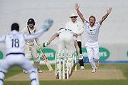 Gareth Berg of Hampshire appealing for the wicket of Nick Gubbins of Middlesex during the Specsavers County Champ Div 1 match between Hampshire County Cricket Club and Middlesex County Cricket Club at the Ageas Bowl, Southampton, United Kingdom on 16 April 2017. Photo by David Vokes.