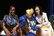 From L to R: Mattie Lewis, a Kindergarten teacher at Dogan ES; Ruby Lea Pope, one of HISD's oldest living alumna who will turn 104 years old on April 9; and Xandra Ward, Pope's niece. Lewis is a longtime friend and sorority sister of Pope's. Pope was recognized during an April 5 celebration at Booker T. Washington High School. Pope graduated from Washington in 1930.