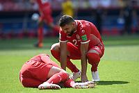 FUSSBALL WM 2018  Vorrunde  Gruppe G  ----- Belgien - Tunesien       23.06.2018 Syam Ben Youssef (re, Tunesien)