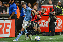 November 11, 2018 - Atlanta, GA, U.S. - ATLANTA, GA Ð NOVEMBER 11:  Atlanta's Darlington Nagbe (6) and NYCFC's Ben Sweat (2) fight for possession during the MLS Eastern Conference semifinal match between Atlanta United and NYCFC on November 11th, 2018 at Mercedes-Benz Stadium in Atlanta, GA.  Atlanta United FC defeated New York City FC by a score of 3 to 1 to advance in the playoffs.  (Photo by Rich von Biberstein/Icon Sportswire) (Credit Image: © Rich Von Biberstein/Icon SMI via ZUMA Press)