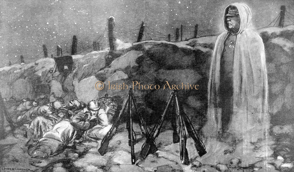 World War I 1914-1918. French soldiers on a cold, starry night behind a bank with barbed wire entanglements above. Ghostly figure of General Joffre  as Grandfather Christmas watches over them. 'Le Pays de France, 23 December 1915.
