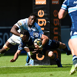 Willie Du Plessis of Montpellier and Yannick Nyanga of Racing during the Top 14 match between Montpellier Rugby and Racing 92  on May 20, 2017 in Montpellier, France. (Photo by Alexandre Dimou/Icon Sport )