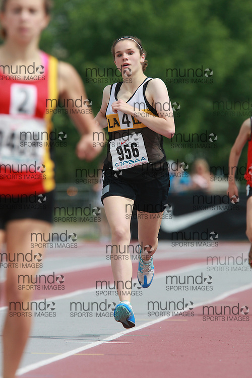 (London, Ontario}---05 June 2010) Rebecca Jaros of La Salle  - Kingston competing in the 800m heats at the 2010 OFSAA Ontario High School Track and Field Championships in London, Ontario, June 05, 2010 . Photograph copyright Dave Chidley / Mundo Sport Images, 2010.