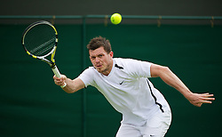 LONDON, ENGLAND - Monday, June 25, 2012: Josh Goodall (GBR) during the Gentleman's Singles 1st Round on the opening day of the Wimbledon Lawn Tennis Championships at the All England Lawn Tennis and Croquet Club. (Pic by David Rawcliffe/Propaganda)