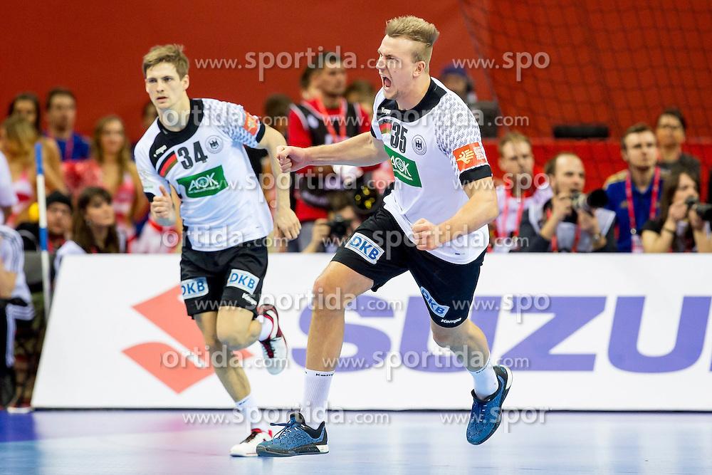 31.01.2016, Tauron Arena, Krakau, POL, EHF Euro 2016, Deutschland vs Spanien, Finale, im Bild Rune Dahmke (Nr 34, THW Kiel) und Julius Kuehn (Nr 35, VfL Gummersbach) // during the 2016 EHF Euro final match between Germany and Spain at the Tauron Arena in Krakau, Poland on 2016/01/31. EXPA Pictures &copy; 2016, PhotoCredit: EXPA/ Eibner-Pressefoto/ Koenig<br /> <br /> *****ATTENTION - OUT of GER*****